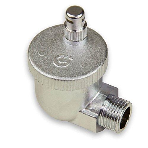 Caleffi 504401 AERCAL Automatischer Schnellentlüfter 1/2 Zoll AG Entlüftungsventil Entlüfter Eck Heizkörperventil aus Pressmessing Verchromt mit hygroskopischer Sicherheitskappe, Silber