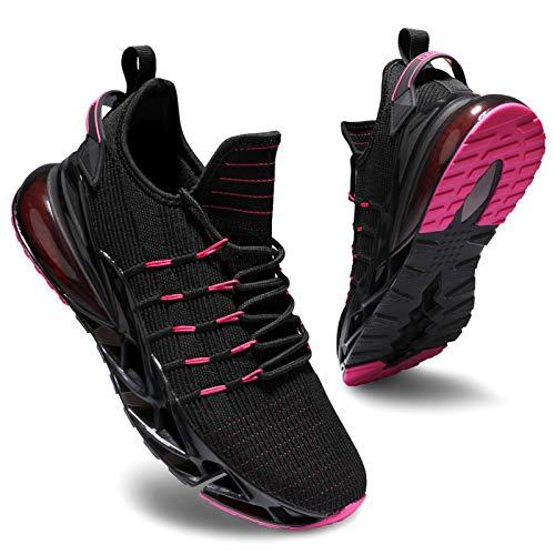 Deevike Laufschuhe Damen Sneaker Wanderschuhe Sportschuhe Turnschuhe Joggingschuhe Schuhe Damen Schwarz Rosa-42