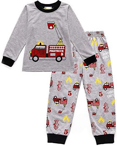 MOLYHUA Jungen Feuerwehr Schlafanzug Lange Pyjama Top und Hosen für Kinder Zweiteiliger Nachtwäsche 92 98 104 110 116 122