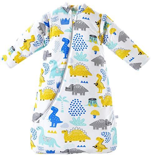 Chilsuessy Baby Schlafsack Winter, Abnehmbare Ärmel, warm gefüttert 3.5 Tog Winter Schlafsäcke Jungen Mädchen Schlafsack für Kleinkinder von 6 Monaten bis 6 Jahre (XL (110 - 125 cm), Dinosaurier)