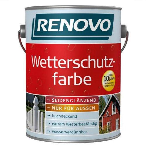 2,5 Liter Wetterschutzfarbe moosgrün RAL6005 RENOVO bis 10 Jahre Langzeitschutz