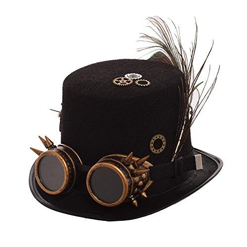 BLESSUME Steampunk Hut mit Brille Unisex Fancy Dress Zylinder (L, Farbe A)