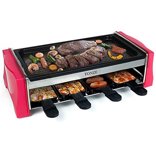 Raclette Grill 8 Personen Tischgrill Grill Elektrisch mit Antihaftbeschichtet 8 Pfännchen 1 Holzspateln 1100W Temperaturregelun Geeignet für Drinnen Draußen Party Zufällig Rot, Schwarz