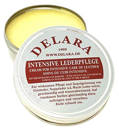 DELARA Intensive Lederpflege, farblos, 75 ml - Imprägniert und schützt Leder sehr wirksam. Neue Rezeptur mit hochwertigem Kokosöl und Bienenwachs - Made in Germany
