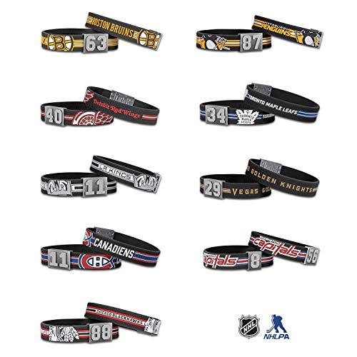 BRAYCE® NHL® Armband mit Deiner Trikot Nummer 00-99 I Eishockey pur mit dem NHL® Trikot am Handgelenk für Oilers, Rangers, Blackhawks & mehr personalisierbar & handgemacht