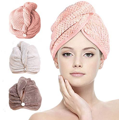 Sayiant Haarturban 3 Stück Microfaser Turban Handtuch ,Super Absorbent haarhandtuch mit Knopf,Kopftuch Handtuch Haar Trocknendes Tuch für Alle Haartypen