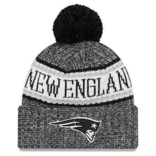 New Era New England Patriots Knit Beanie NFL 2018 Sideline Black White - One-Size