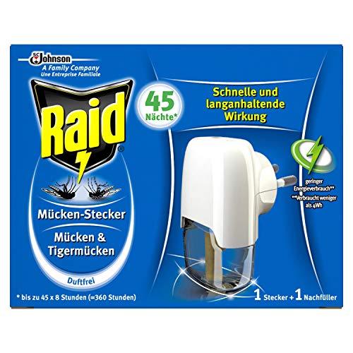 Raid Insekten Stecker, Mückenschutz, Stecker & 1 Nachfüller, duftfrei, 45 Nächte, 1er pack