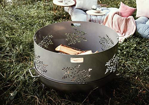Czaja Feuerschalen® Funkenschutz mit Blumenmotiv für alle Feuerschalen Ø80cm
