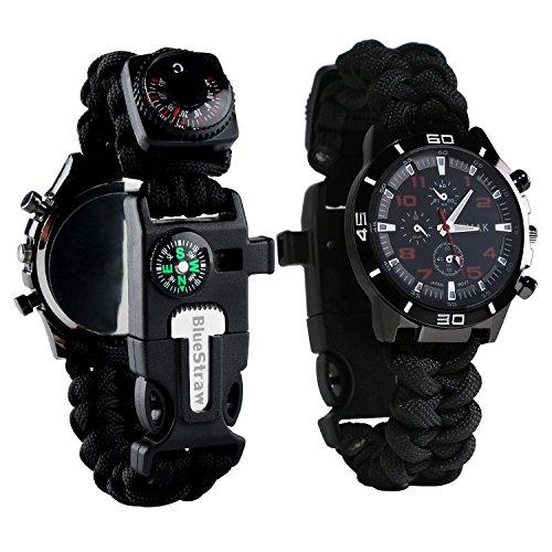 BlueStraw Überlebens-Armbanduhr, Männer & Frauen Notfall Überleben Uhr mit Paracord/Pfeife/Feueranzünder/Schaber/Kompass und Thermometer, 6 in 1 multifunktionalen Outdoor-Ausrüstung