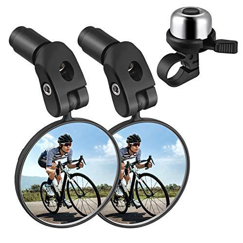 Zacro Fahrradspiegel + Fahrradglocke, 360°Verstellbar Fahrradspiegel Rückspiegel für Mountainbikes Rennräder (2 STÜCK), mit Fahrradklingel(Silber) für Erwachsene und Kinder