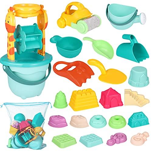 iBaseToy 30 teiliges Strandspielzeug Set Strand Sandspielzeug-Spielset für Kinder Sandkastenspielzeug den Enthält Wasserrad Strandbuggy Eimer Gießkanne Sandburg Baukasten und Formen für Jungen Mädchen