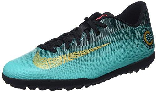 Nike Unisex-Erwachsene Vaporx 12 Club Cr7 Tf Fußballschuhe, Grün (Clear Jade/MTLC Vivid Gold/Black 390), 44 EU