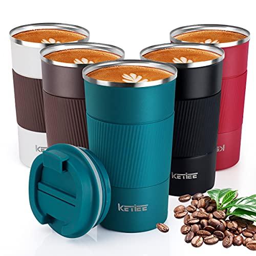 KETIEE Kaffeebecher to go,510ml Thermobecher Edelstahl,Kaffeebecher Thermo,Doppelwandig Reisebecher Travel Mug,Vakuum Isolierbecher mit auslaufsicherem Deckel für Kaffee und Tee,Blau
