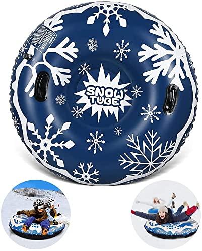 47'' Aufblasbare Schnee Tubes, Aufblasbare Schlitten mit Griffen, Kratzfest, Frostbeständig, Ideal für Kinder Erwachsene den Winter Outdoor-Spaß