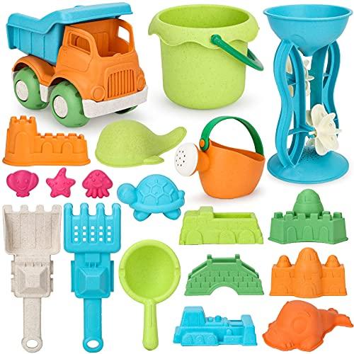Vanplay Sandspielzeug Weizenstrohmaterial Sandkasten Spielzeug mit Strandspielzeug Tasche für Kinder 19 Stück