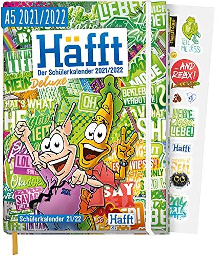 Häfft Deluxe Hausaufgabenheft 2021/2022 A5 [Stickermania] Hardcover Schülerkalender, Schülerplaner mit Gummiband & Stickern | nachhaltig & klimaneutral