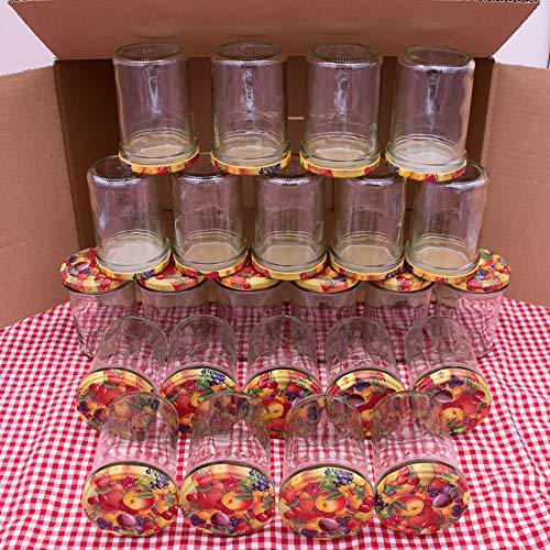 flaschenbauer.de 24er Set Sturzgläser 230 ml inkl. Twist Off Deckel TO66 mit Obstdekor zum Einmachen von Suppen, Babynahrung, Dips oder zur Aufbewahrung von Tee und Kräuter