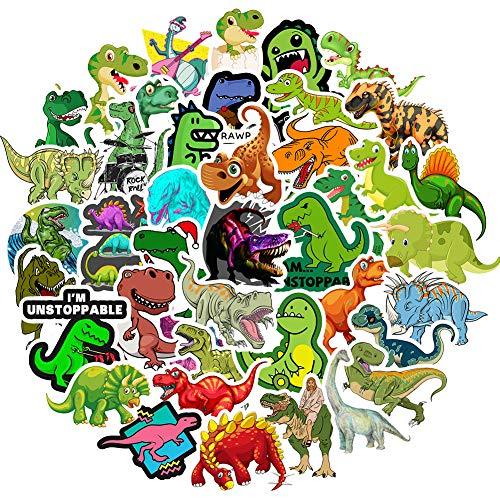 RGBEE Wasserfeste Aufkleber Sticker Pack 50 Stücke, Graffiti Decal Vinyl Sticker Klein für Laptop Koffer Helm Motorrad Skateboard Auto Fahrrad VSCO Aesthetic Sticker, Dinosaurier Aufkleber für Kinder