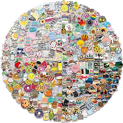 Amitorfo 400 Stück Gemischte Aufkleber Sticker Set für Laptop Skateboard Fahrrad Motorrad Koffer Wasserflasche Pad Sticker Vintage Vinyl Wasserdichte Aesthetic Aufkleber Junge Mädchen Erwachsene