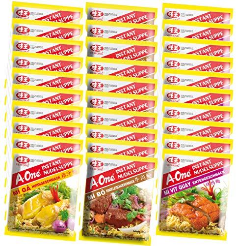 A-ONE Instantnudeln Mischkarton, 10 x Huhn, 10 x Ente, 10 x Rind, 30er Pack (30 x 85 g)