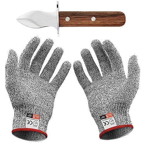 Oyster Knife Set mit Austernmesser und Schnittfeste Handschuhe Austernöffner und Schnittschutzhandschuhe für Muscheln oder Hartkäse geeignet - oyster knife (Küche, Gartenarbeit, DIY) (Mittel(M))