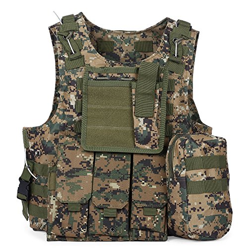 MOLLE Vest - Tactical Vest für Airsoft, Paintball - Tactical Military Vest mit Multicam-Muster - Verstellbare leichte Kampfweste - Military Camo Chest Rig (DIGITAL Jungle Camouflage)