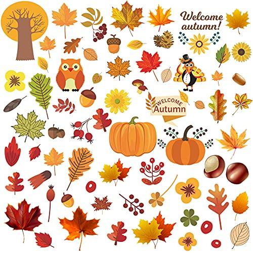 6pcs Thanksgiving Fenster Aufkleber,Erntedankfest Fensterbilder,Ahornblatt Fensteraufkleber Ohne Kleber,Herbst Fensterbilder Kinder,Herbst Fensterdeko für Kinderzimmer Dekoration