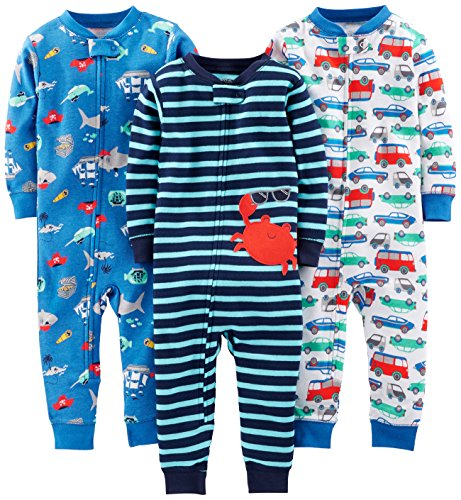 Simple Joys by Carter's Baby Mädchen 3-pack Snug Fit Footless Cotton Schlafstrampler, Crab/Sea Creatures/Cars, 18 Monate