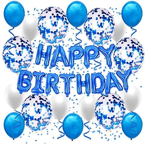 Geburtstagsdeko Junge, Geburtstagsballon, Happy Birthday Girlande in Blau, Party Deko, Happy Birthday Ballon