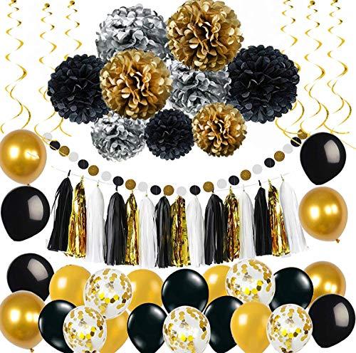 Party Deko set Gold Silber Schwarz Pompoms Quasten Girlande Luftballons Papier Girlande spiralgirlanden Geburtstag Hochzeit Partydeko