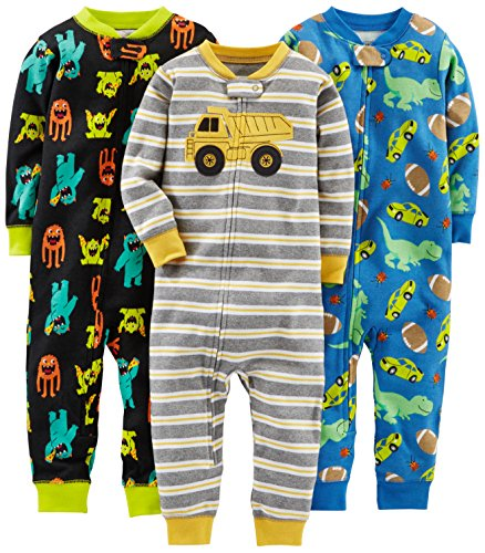 Simple Joys by Carter's Baby Jungen 3-pack Snug Fit Footless Cotton Schlafstrampler, Monsters/Dino/Construction, 2 Jahre