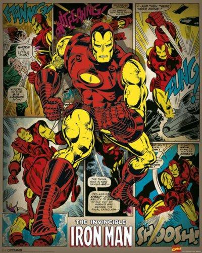 Marvel Comics Iron Man Retro Comic Mini Poster Plakat Druck - Grösse 40x50 cm