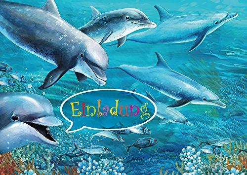 10 Delfin-Einladungen (Set 1) / Geburtstagseinladungen Kinder Mädchen Jungen: 10-er-Set Delfin-Einladungskarten zum Kindergeburtstag oder ins Schwimmbad von EDITION COLIBRI (10690 S-and-L))