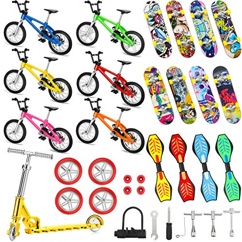 34 Stücke Mini Finger Spielzeug Satz Finger Skateboards Finger Fahrrad Roller Winziges Schaukel Brett Fingerspitzen Bewegung Party Bevorzugt Ersatz Räder und Werkzeuge