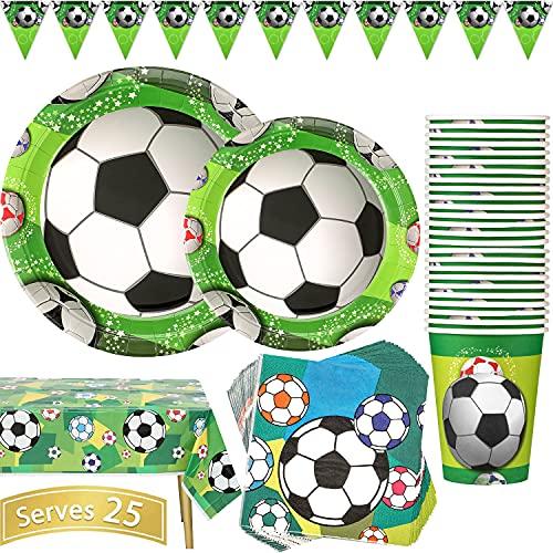 Duocute Fußball Party Supplies 102 Stück Geburtstag Partyteller Sport Thema Kindergeburtstag Partygeschirr Enthält Pappteller, Pappbecher, Servietten, Tischdecke, Banner, für 25 Gäste