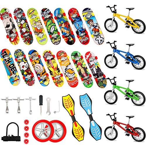 29 Stücke Mini Fingerspielzeug Set Finger Skateboards Finger Fahrräder Winziges Schaukelbrett Fingerspitzen Bewegung Party Begünstigt Ersatzräder und Werkzeuge