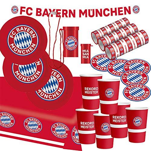 FC Bayern München Party Set · XL Fußball Party Set 34 teilig Fanartikel · Party Zubehör · Deko zur Fußballparty und Geburtstag