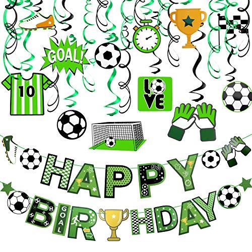 HOWAF Fußball Geburtstagsdeko für Junge Kindergeburtstag, Fußball Happy Birthday Banner Geburtstag und Fußball Deckenhänger Spiral Girlanden Hängedekoration für Junge Kinder Fußballfan Geburtstag