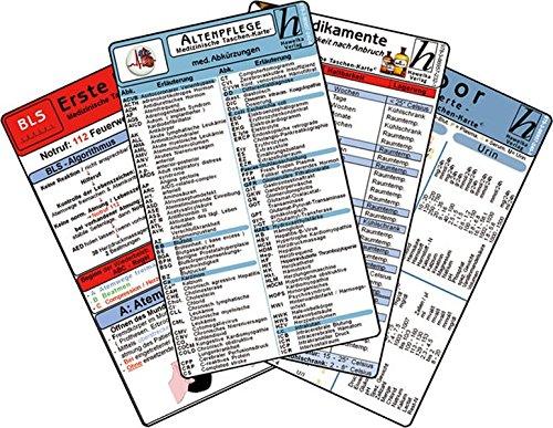 Altenpflege Karten-Set - med. Abkürzungen, Medikamente - Haltbarkeit nach Anbruch, Erste Hilfe, Laborwerte