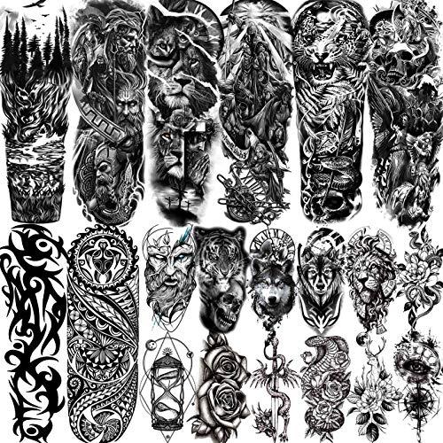 LAROI 20 Blätter Extra Groß Temporäre Tattoos Vollem Arm Männer Erwachsene, Temporäre Tattoos Frauen Tiger Schlange Löwe, Schwarz Tattoos Kinder Wasserfest Fake Tattoo Aufkleber Krieger Damen Herren